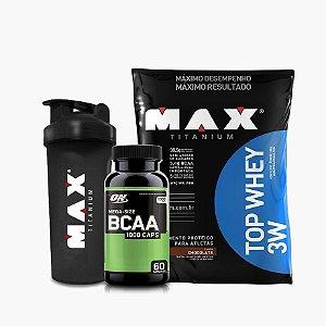Top Whey (1,8kg) + BCAA Optimum (60caps) + Coqueteleira - Max Titanium