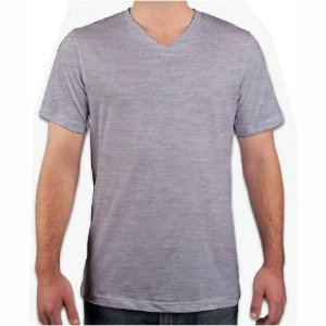 Camiseta Gola V Cinza Mescla, 100% Algodão, Fio 30.1 Penteado