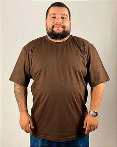 Camiseta Marrom, Tamanho Nobre, 100% Algodão, Fio 30.1 Penteado