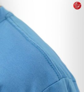 Camiseta Azul Celeste, 100% Algodão, Fio 30.1 Penteado
