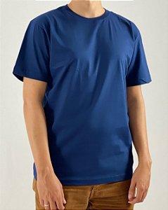 Camiseta Azul Marinho, 100% Algodão, Fio 30.1 Penteado
