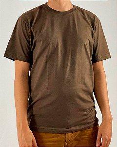 Camiseta Marrom, 100% Algodão, Fio 30.1 Penteado