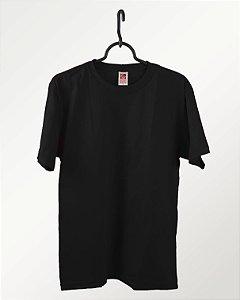 Camiseta Preta, 100% Algodão, Fio 30.1 Penteado