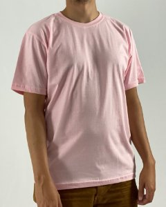 Camiseta Rosa Claro, 100% Algodão, Fio 30.1 Penteado