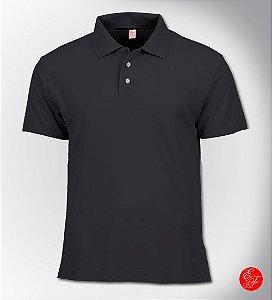 Camiseta Polo Cinza Chumbo, Malha Piquet