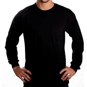 Camiseta Manga Longa Preta - 100% Algodão, Fio 30.1 Penteado