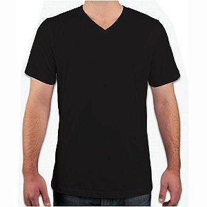Camiseta Gola V Preta, 100% Algodão, Fio 30.1 Penteado