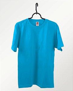 Camiseta Azul Turquesa, Extra Grande, 100% Algodão, Fio 30.1 Penteado