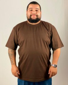 Camiseta Marrom, Extra Grande, 100% Algodão, Fio 30.1 Penteado