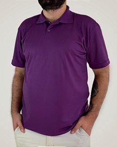 Camiseta Polo Roxa, Extra Grande, 100% Poliviscose
