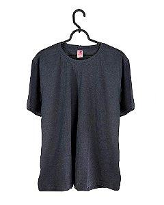 Camiseta Cinza Chumbo Mescla, Tamanho Nobre, 100% Algodão, Fio 30.1 Penteado