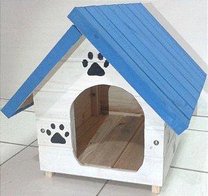 Casinha De Cachorro P (Azul-Branca)