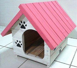 Casinha De Cachorro Pequena (Rosa-Branca)