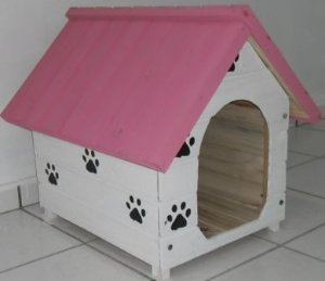 Casinha De Cachorro Média (Rosa-Branca)