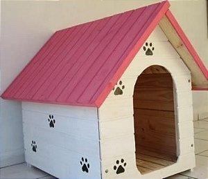 Casinha De Cachorro GG (Rosa-Branca)