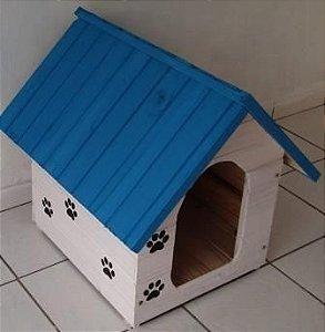 Casinha De Cachorro Grande (Azul e Branca)