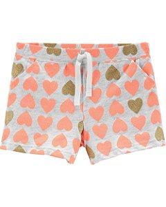 F9- Shorts de algodão corações laranjas e dourados