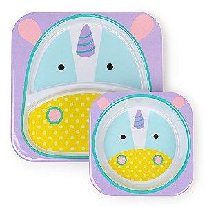 Prato principal e sobremesa skipHop plate bowl set unicornio
