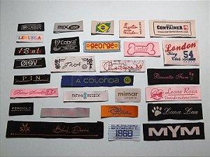 Etiqueta Bordada Personalizada (Palito 1 Cor) - - Dobra nas Pontas