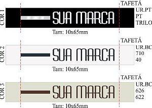 Etiqueta Bordada Personalizada (Palito 1 Cor) - Tafetá - Dobra nas Pontas