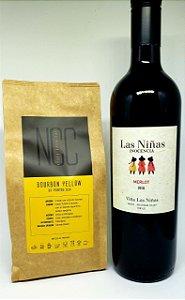 Harmonização Bourbon Yellow NCC 250 gr.com Vinho Merlot Tinto Orgânico da Vinícola Chilena Las Niñas