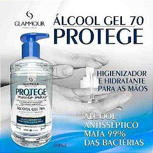 ÁLCOOL GEL 70%- PROTEGE/ GLAMMOUR-   500 ML- KIT COM  5  UNIDADES