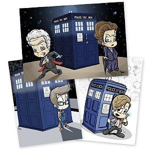 Combo pôsteres Doctor Who - 10º, 11º, 12º Doctors e Missy - Versão Levados