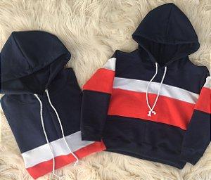 Blusas de moletom Pai e Filho azul escuro com vermelho