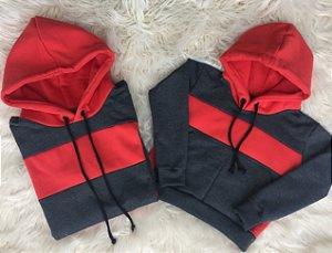 Blusas de moletom Pai e Filho cinza com vermelho