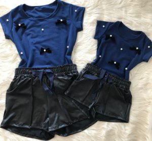 Conjunto T shirt Lacinhos com Shorts Cirre mãe e filha
