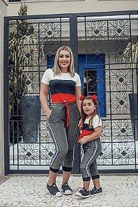 T SHIRT 3 CORES E CALÇA LUREX MÃE E FILHA