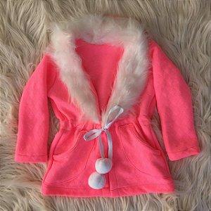 Parka rosa neon com pelo branco Mãe e Filha