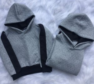 Blusas de moletom unissex cinza com faixas pretas