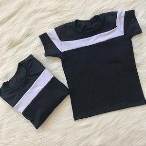 T shirt Preto com Branco Mãe e Filha