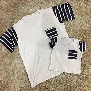 T shirt Branca com Listras Preto e Branco Pai e Filho