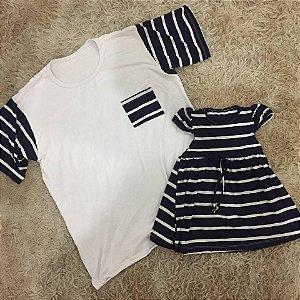T shirt Branca com Listras e Vestidinho listrado Pai e Filha