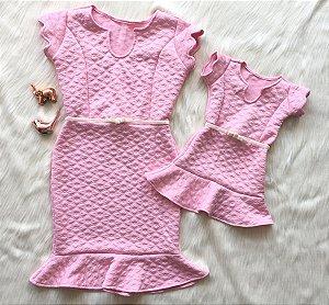 Vestido Corações Rosa Mãe e Filha