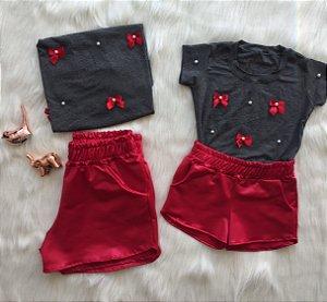 Conjunto T shirt Lacinhos e Shorts Cirre vermelhos mãe e filha