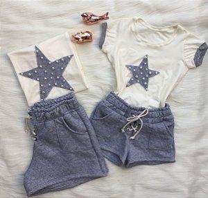 T shirt estrela e shorts cinza matelasse Mãe e Filha