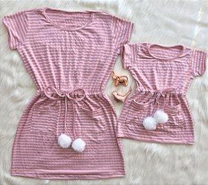 Vestido Listrado Rosa Mãe e Filha