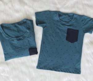 T shirts Piquet verde Pai e Filho