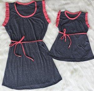 Vestidos Preto mescla com cereja Mãe e Filha