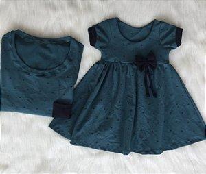 T shirt e Vestido Piquet verde Pai e Filha
