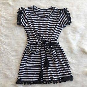 Vestido Listrado Pompom Infantil