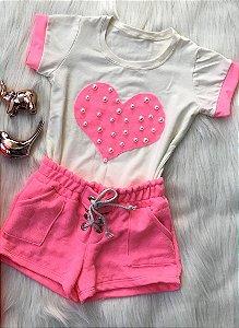 Conjunto Coração de Neon infantil