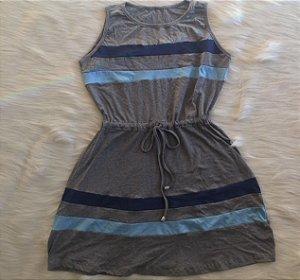 Vestido listras azuis Adulto