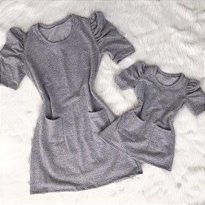Vestido Cinza Lurex Mãe e Filha