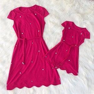 Vestido Pink nuvem mãe e filha