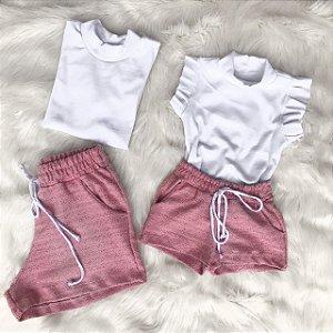 Conjunto mesclado rosa mãe e filha