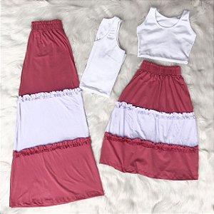 Conjunto cropped com saia 2 cores mãe e filha